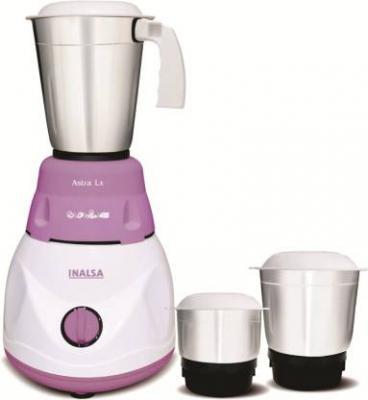 Inalsa Astra LX 600 W Mixer Grinder  (White & Purple, 3 Jars)