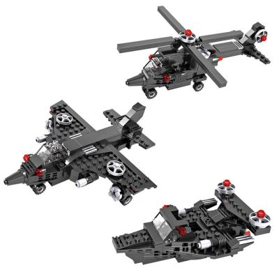 Planet of Toys Building Blocks for Kids, Blocks Ship, Fighter Jet, Helicopter for Kids Boy/Girls - Black (177 Pcs )
