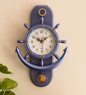 eCraftIndia Plastic Decorative Retro Pendulum Wall Clock (12 cm x 1 cm x 15 cm, Dark Purple)