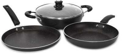 Flipkart SmartBuy Induction Bottom Splatter Finish Cookware Set of 3   (Aluminium, 3 - Piece)