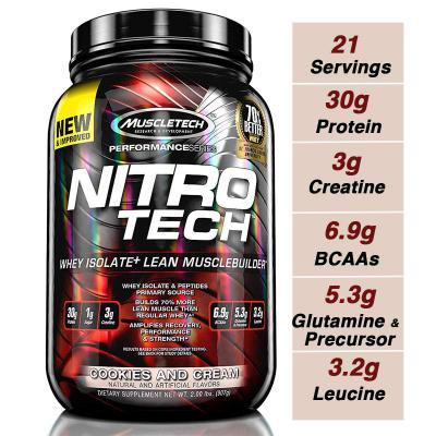 Muscletech Performance Series Nitrotech Whey Protein Peptides & Isolate - 2lbs (907g) (Cookies and Cream)