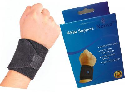 Noova Wrist Wrap Support with Adjustable Velcro Strap, Black - 1 Piece