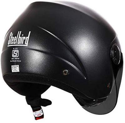 Steelbird SB-02 Classic Jab open Face Helmet for Men and Women (Medium 580 MM, Natural Black with Smoke Visor)