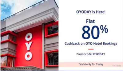 Paytm OYO Rooms: Flat 80% Cashback on Bookings