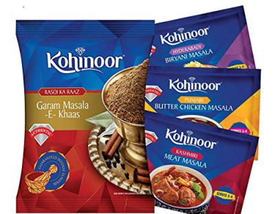 Kohinoor Biryani Masala, 15g with Chicken Masala, 15g, Meat Masala, 15g and Garam Masala, 40g Combo Pack