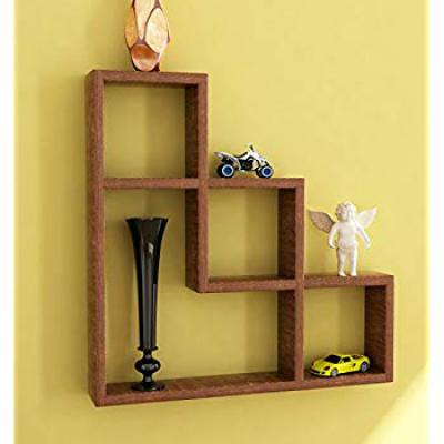 Home Sparkle Sh369 Wooden L-Shaped Wall Rack (Brown)