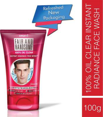 Emami Fair and Handsome 100% Oil Clear Face Wash, 100g