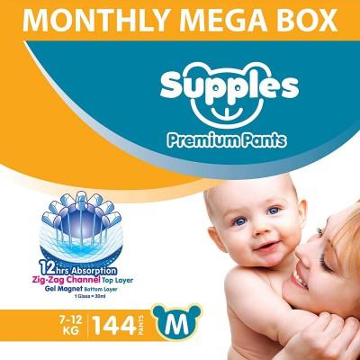 Supples Baby Diaper Pants, Monthly Mega-Box, Medium, 144 Count