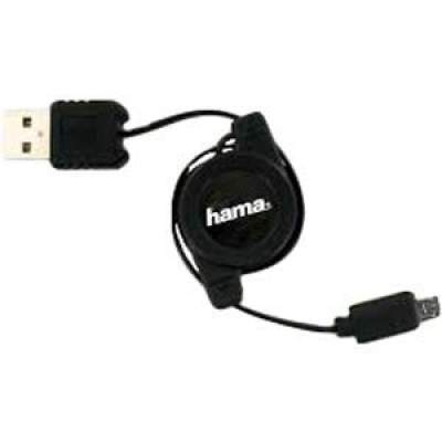 Hama Retractable Micro Usb 2.0 Charging Cable (Black)
