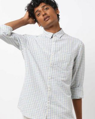 AJIO Slim Fit Checked Shirt with Patch Pocket