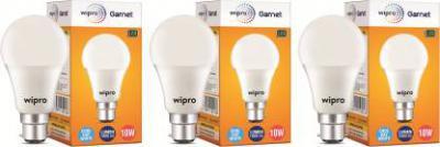Wipro 10 W Standard B22 LED Bulb  (White, Pack of 3)