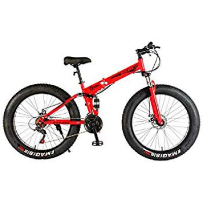 Endless 26T Foldable Fat Tyre Double Suspension Mountain Bike (Mat Red)