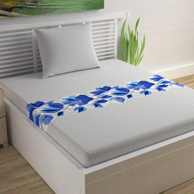 Divine Casa Sense Cotton Single Bedsheet with Pillow Cover - Floral, Princess Blue and Off-White