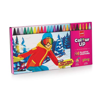 Cello ColourUp Plastic Crayon - Pack of 24, Bright and Strong Plastic Crayons set for kids