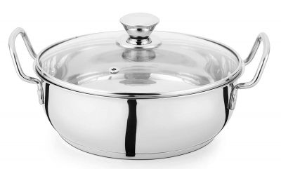 Profusion Stainless Steel Induction Base Kadhai/Karahi with Glass lid (Silver, 1 PC- Capacity- 2.5 Litre)
