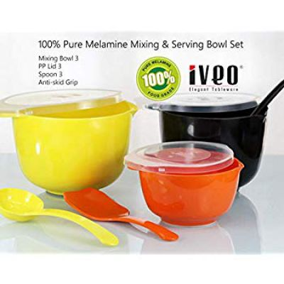 Iveo 9 Pcs Melamine Mixing Bowl Combo with LID and Mixing Spoon OBY