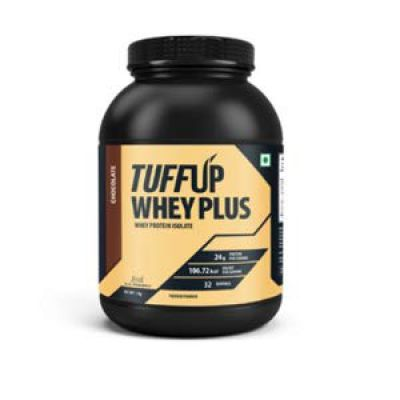 Tuff Up Whey Plus Protein - 2 kg (Chocolate), 24g protein per serving, made from imported whey