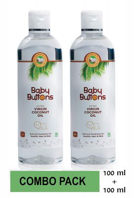 BabyButtons Extra Virgin Coconut Oil for Baby Massage (100ml+100ml)