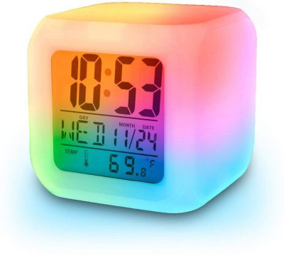 Smart Digital Alarm Clock with Automatic 7 Colour Changing LED Digital Alarm Clock with Date, Time, Temperature for Office and Bedroom by ADTALA