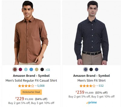 Men's Shirts at minimum 80% off