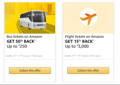 Collect Bus & Flight offer on Amazon