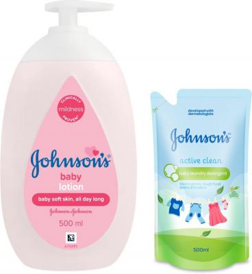Johnson's Baby Lotion 500ml Pump Pack with Baby Laundry Detergent Active Clean 500ml