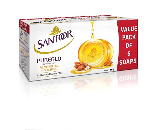 Santoor PureGlo Glycerine Soap with Almond Oil and Glycerine, 125g (Pack of 6) for Nourished Glowing Skin