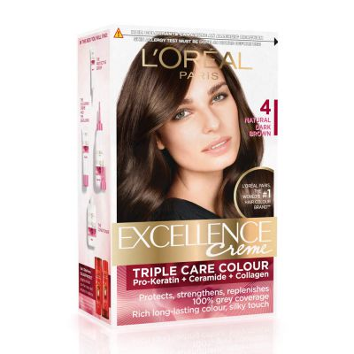 LOreal Paris Excellence Creme Hair Color, 4 Natural Dark Brown, 72ml+100g