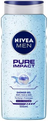 NIVEA MEN Shower Gel, Pure Impact Body Wash, Men, 500ml