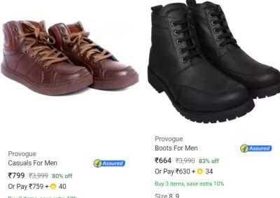 Provogue Men's Footwear Minimum 80% off...