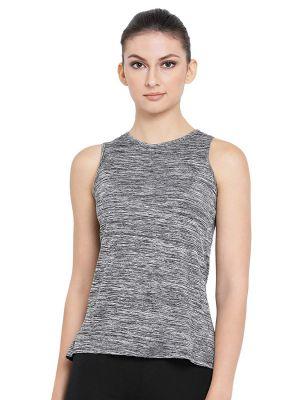 Clovia Women's Grey Gym/Sports Textured Activewear Top