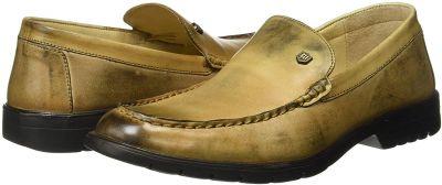 Woodland Men's Khaki 2 Tone Leather Sneakers