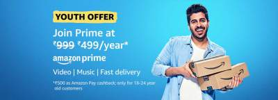 Amazon Prime Youth Offer: Prime Membership at Rs.499...