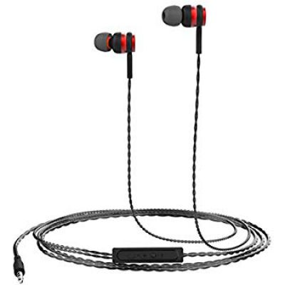 Portronics Conch Gama in-Ear Wired Earphone, 1.2m Tangle Free Cable, in-Line Mic, Noise Isolation 3.5mm Aux Port and High Bass, for All Android & iOS Devices (Red)