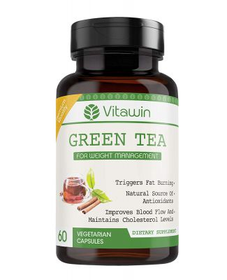 VITAWIN Green Tea Capsules for Men and Women for Weight Management and Fat Loss , 500 mg - Pack of 60