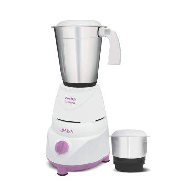 Inalsa Fusion 550-Watt Mixer Grinder with 2 Jar (White/Light Purple)