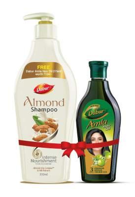Dabur Almond Shampoo - With Almond-Vita Complex & Milk Extracts ,350 ml with Dabur Amla Hair Oil , 275 ml Free