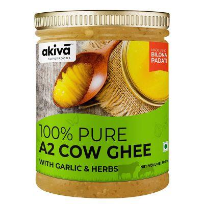Akiva Superfoods - 100% Pure Desi Cow Ghee from A2 Cow Milk Bilona Method - (Garlic & Herbs), 500 ml
