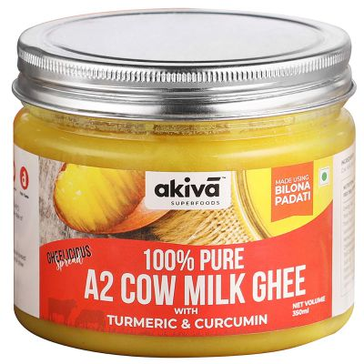 A2 Cow Ghee from Grass-Fed Desi Sahiwal Cow's Milk, 350 ml - Turmeric and Curcumin Flavour - Made from Curd by Traditional Vedic Bilona Padati Method - Non GMO - Gluten Free