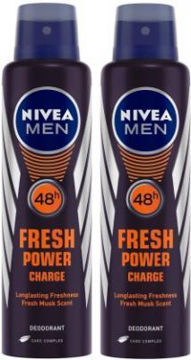 Nivea Men Fresh Power Charge Deodorant Body Spray - For Men  (300 ml, Pack of 2)
