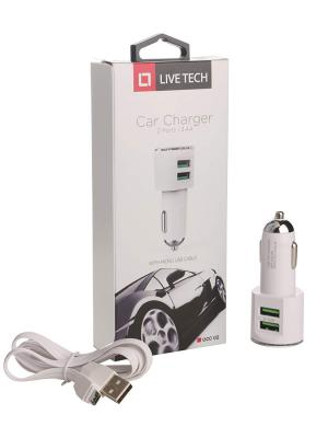 Live Tech UCC02 3.4A Dual Port Smart Car Charger Adapter with Auto-ID and Fast Charging