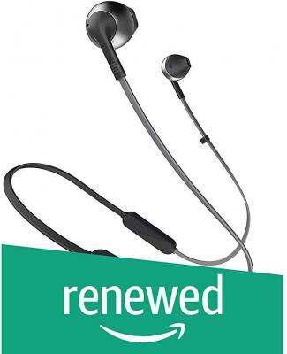 (Renewed) JBL Tune 205BT Wireless Earbud Headphones with Mic (Black)