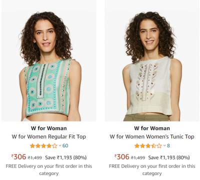W for Woman clothing at Min. 75% off