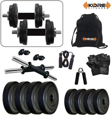 Kore PVC-DM Combo (4 Kg - 26 Kg) Home Gym and Fitness Kit with Gym Accessories...
