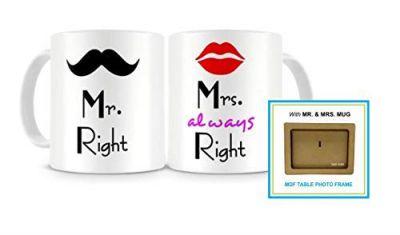 Paper Plane Design Mr. & Mrs. Right Couples Ceramic Printed Coffee Mug, Set Of 2