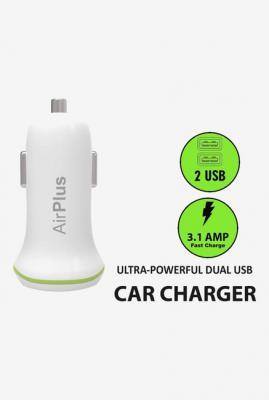 AirPlus AP-CA-C101 5V/3.1 Amp Universal Car Charger Adapter (White)