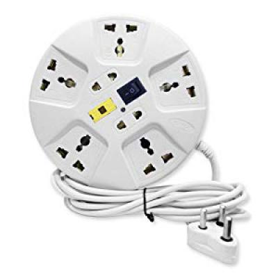 Elove 6 Amp Multi Plug Point Extension Cord -White
