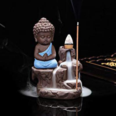 eCraftIndia Meditating Monk Buddha Smoke Backflow Cone Decorative Incense Holder