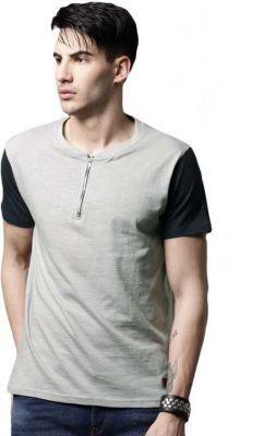 Roadster Color block Men Henley Grey T-Shirt