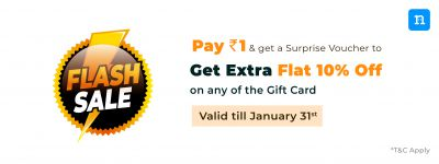 Pay Rs1 & Get a Surprise Voucher to Get Extra Flat 10% off on any Gift Card on Niki.ai